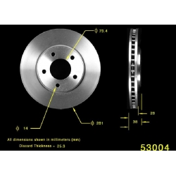 TARCZA HAMULCOWA PRZÓD 121.67049 / PRT5350 CENTRIC PARTS (CHRYSLER Town&Country, Grand Voyager, DODGE Grand Caravan)