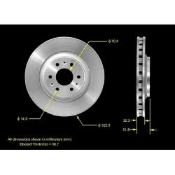 TARCZA HAMULCOWA PRZEDNIA PRT5595 BENDIX PREMIUM (Cadillac SRX 2004-2009)
